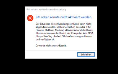 Bitlocker Problem – TPM nicht aktiviert